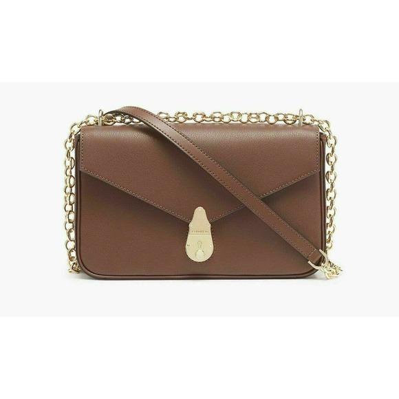 Calvin Klein Leather Crossbody brown gold chain